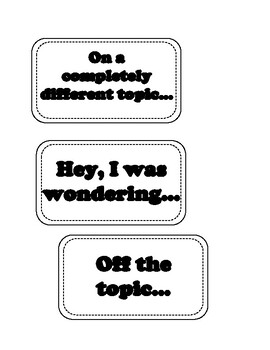 Conversation Skills - Topic Changer Cards