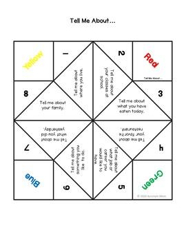 Conversation Starter Cootie Catchers (Fortune Tellers) Autism ADHD