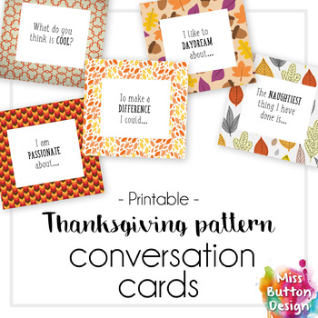 Conversation Starter Ice Breaker Cards - Thanksgiving Themed