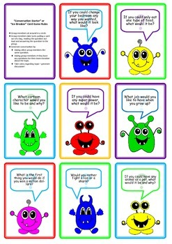 Card Game: Conversation Starter Questions Monster Theme