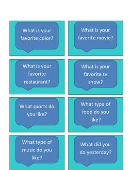 Conversation Starter/ Social Question Cards