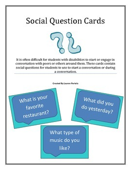 Conversation Starter/ Social Question Cards