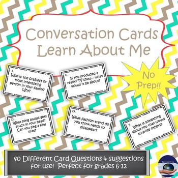 Conversation Starter Task Cards - Learn About Me