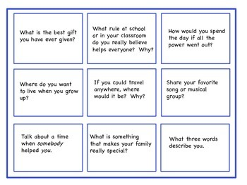 Conversation Starter Topic Cards II, Writing Prompts, Social Skills