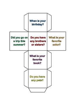 Conversation Starters-Back to school activity