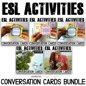 ESL Activities: Conversation Cards for Speaking Practice {Mini Bundle}