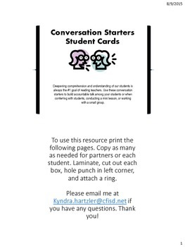 Conversation Starters Student Cards