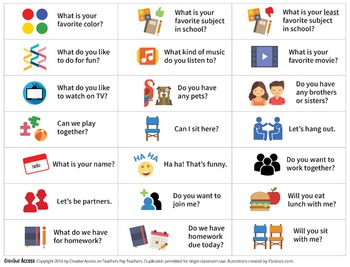 Conversation Starters for Building Social Skills and Promoting Inclusion