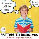 Speech Therapy: Conversation Starters/Pragmatic Language Activity