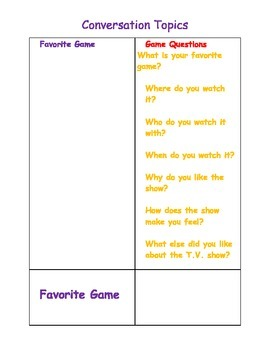 Conversation Topic Cards and Cheat Sheet