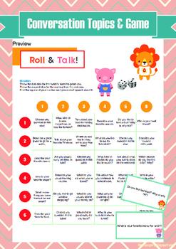 Conversation Topics & Game + Worksheets (Sample)