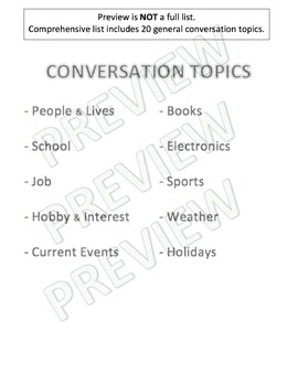 Conversation Topics List