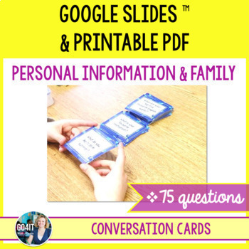 Conversation cards: Personal Information & Family (75 cards)