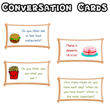 Conversation cards for speaking practice – FOOD