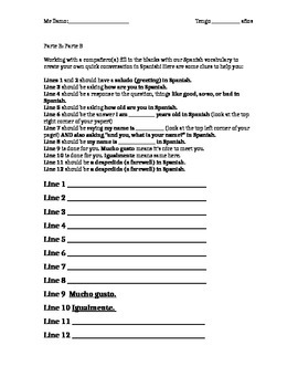 Conversation review and empty dialogue worksheet