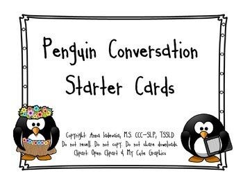 Conversation starter cards - penguins!!