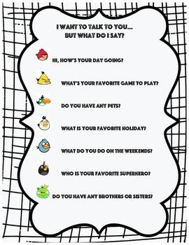 Conversation starters for social skills!