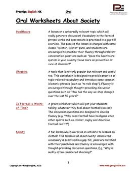 Oral / Speaking / Conversation English Worksheets - SOCIETY