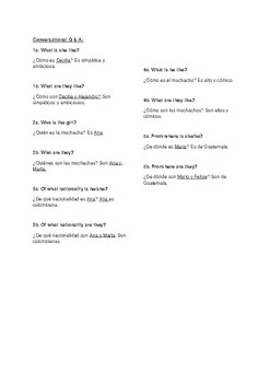 Conversational questions from Capitulo 1 Asi se dice 1