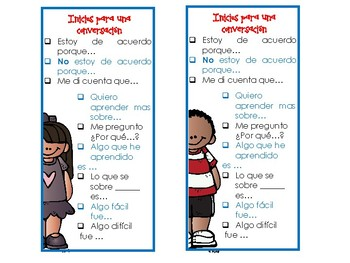 Conversational starters and goal cards. SPANISH