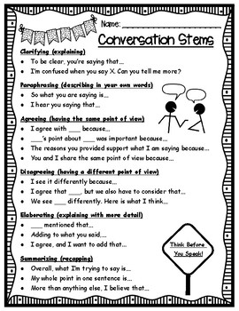 Conversation Stems for Accountable Talk