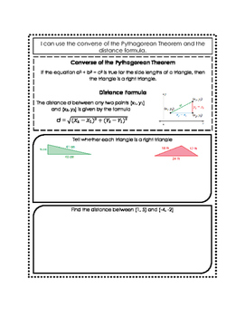 Converse of Pythagorean Theorem & Distance Formula Doodle Notes