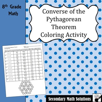 Pythagorean Theorem Converse Coloring Activity  (8.7C)