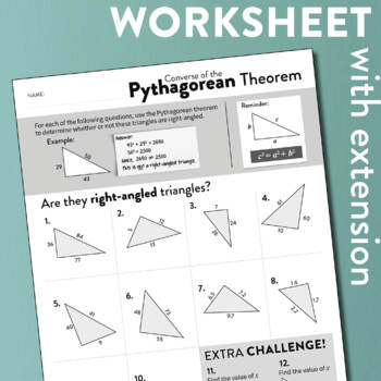 Converse Of The Pythagorean Theorem Worksheet By Adele Levin  Tpt