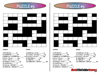 Conversion Cross-number (Math Puzzle)
