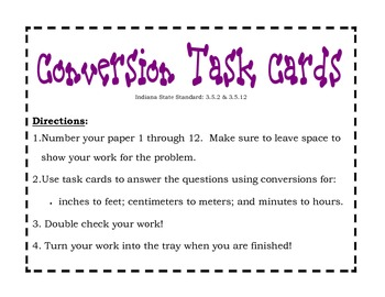 Conversion Task Cards
