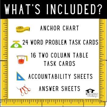 Conversion Task Cards-Gallon, Quarts, Pints & Cups