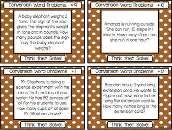 Conversion Word Problem Task Cards