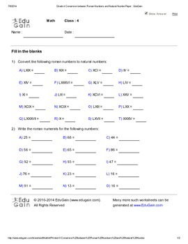 Conversion between Roman Numbers and Natural Numbers - Sheet 2