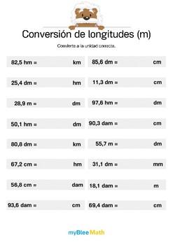 Conversión de longitudes 5 - Convierte a la unidad correcta.