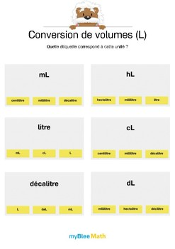 Conversion de volumes 1 -Correspondances entre unités et abréviations