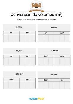 Conversion de volumes (m³) 2 -Placer des mesures dans un tableau de conversion