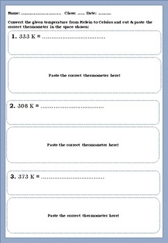 Conversion of Celsius to Kelvin and vice-versa- Worksheet
