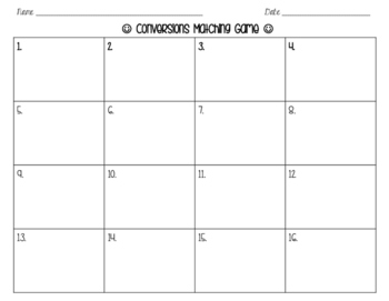 Conversions Between Systems Matching Game