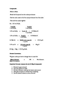 Stoichiometry (Chemistry) Conversions Help Sheet