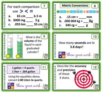 Unit Conversions & Measurement ~28 Task Cards~ 42 Problems~ Metric & SI