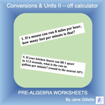 Conversions & Units II - off calculator