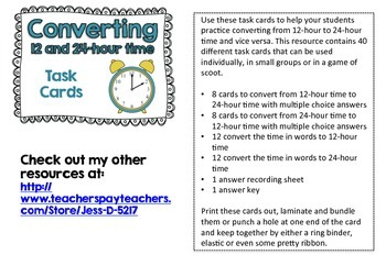 Convert 12 and 24-Hour Time... by Mrs Six | Teachers Pay Teachers