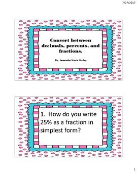 Convert Between Decimals, Percents and Fractions