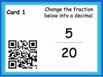 Convert Between Fractions and Decimals (QR Code Task Cards)