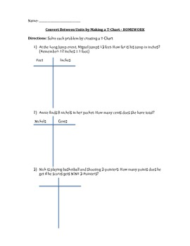 Convert Between Units by Making a T-Chart - Common Core Math Grade 4