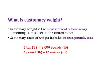Convert Customary Weight PowerPoint