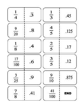 Convert Decimals to Fractions Dominos