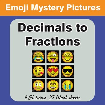 Convert Decimals to Fractions EMOJI Math Mystery Pictures