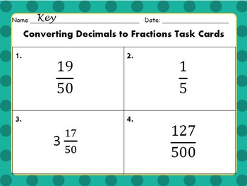Convert Decimals to Fractions Task Cards