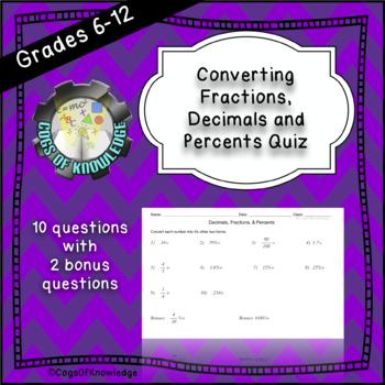 Convert Decimals, Fractions, and Percents Quiz